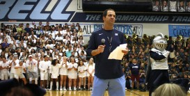 Coach Glaze fires up the student body