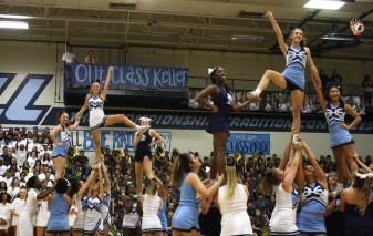 Cheerleaders perform their routine